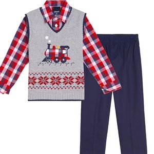 Izod Toddler Boy 3 Piece Fairisle Sweater Vest Set